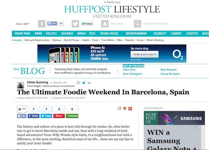 Wanderlust Chloe Huffington Post Ultimate Foodie Barcelona