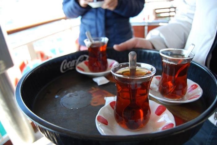 Turkish tea on the Bosphorus ferry