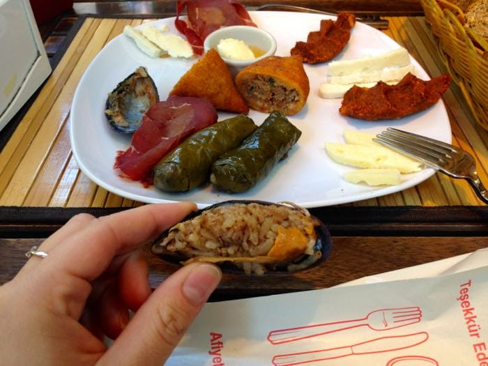 Meze platter on our Istanbul food tour