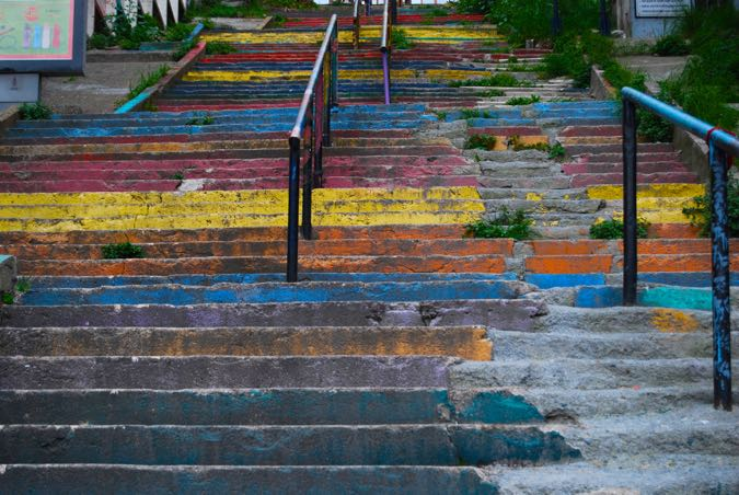 A second set of rainbow steps one street away