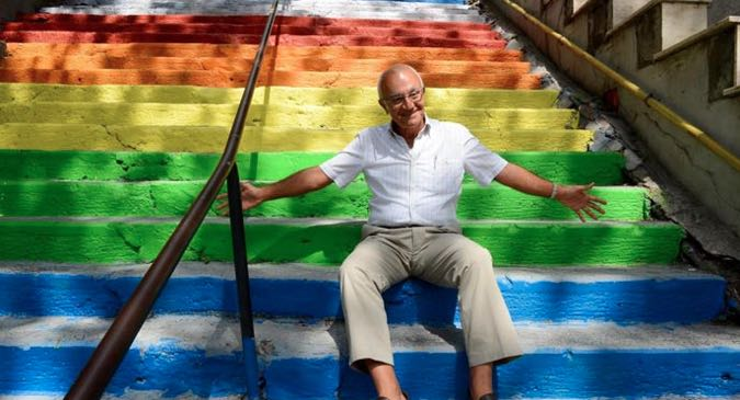 Huseyin Cetinel on the Rainbow Steps, Istanbul