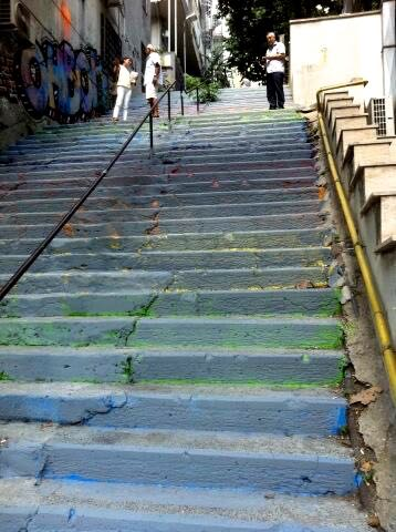 Rainbow Steps after being painted grey