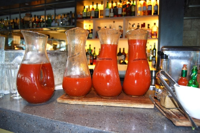 Bloody marys on the bar at Darwin Brasserie, Sky Garden, London