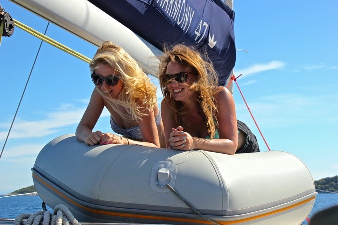 Girls Laughing Sailing Croatia