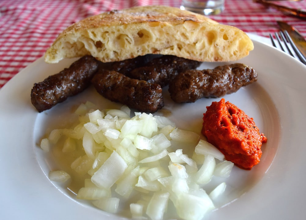 cevapcici for lunch in Mostar