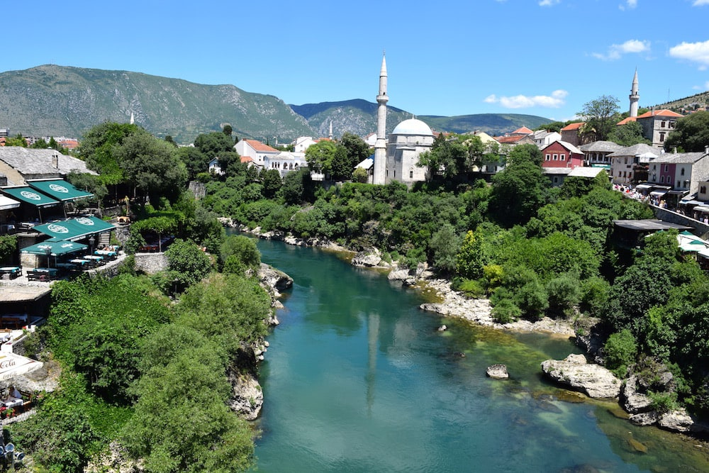 View from Stari Most Bridge in Mostar on the Dubrovnik to Mostar day trip