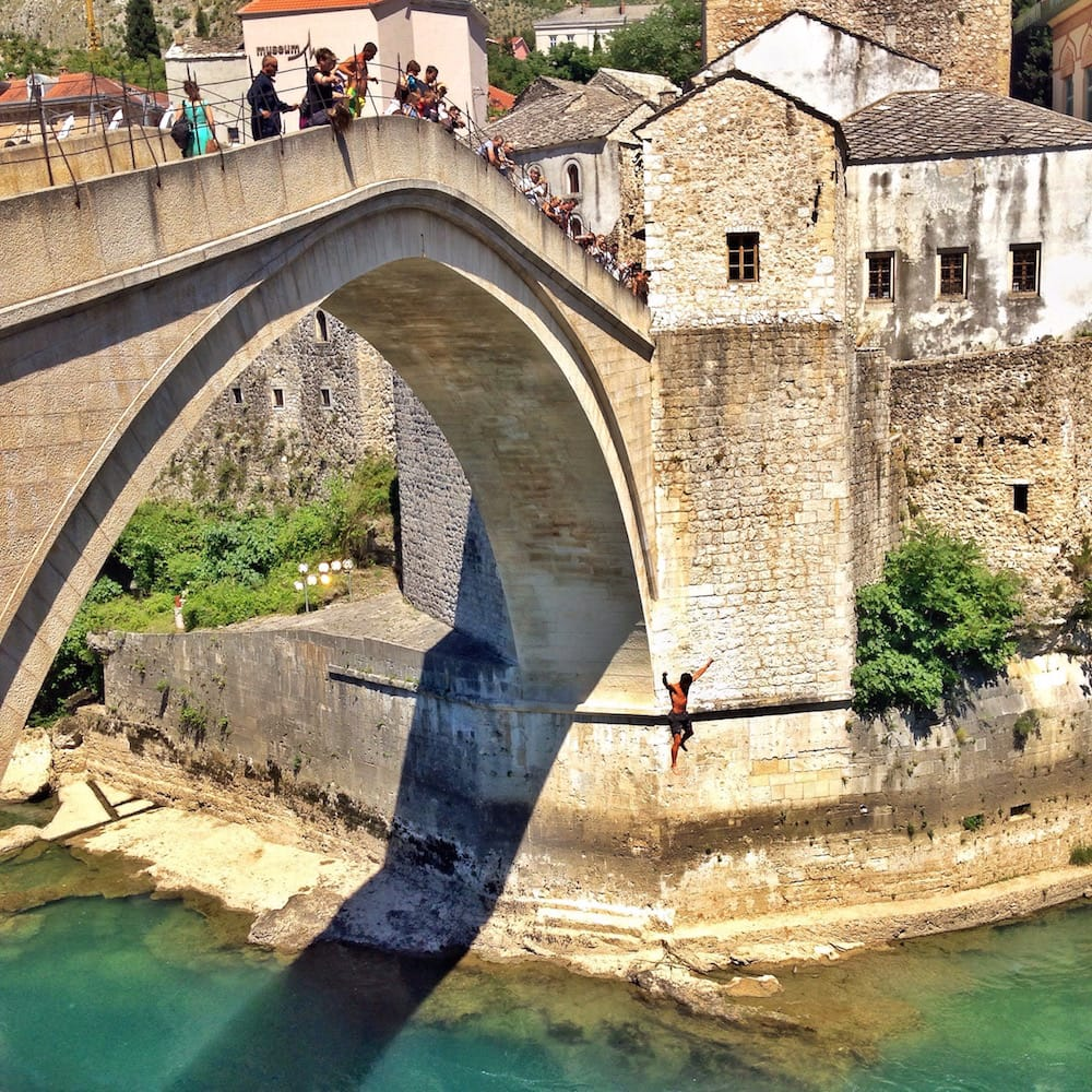 Bridge jumpers from Stari Most Bridge in Mostar