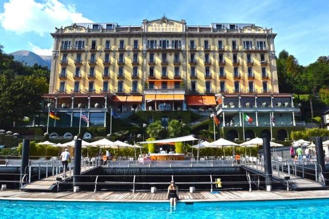 Dipping my feet in the floating pool at Grand Hotel Tremezzo