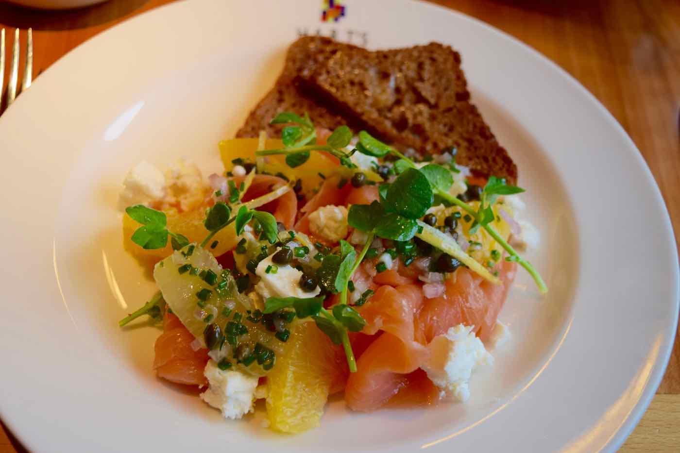 Smoked salmon salad at Hart's Restaurant, Nottingham