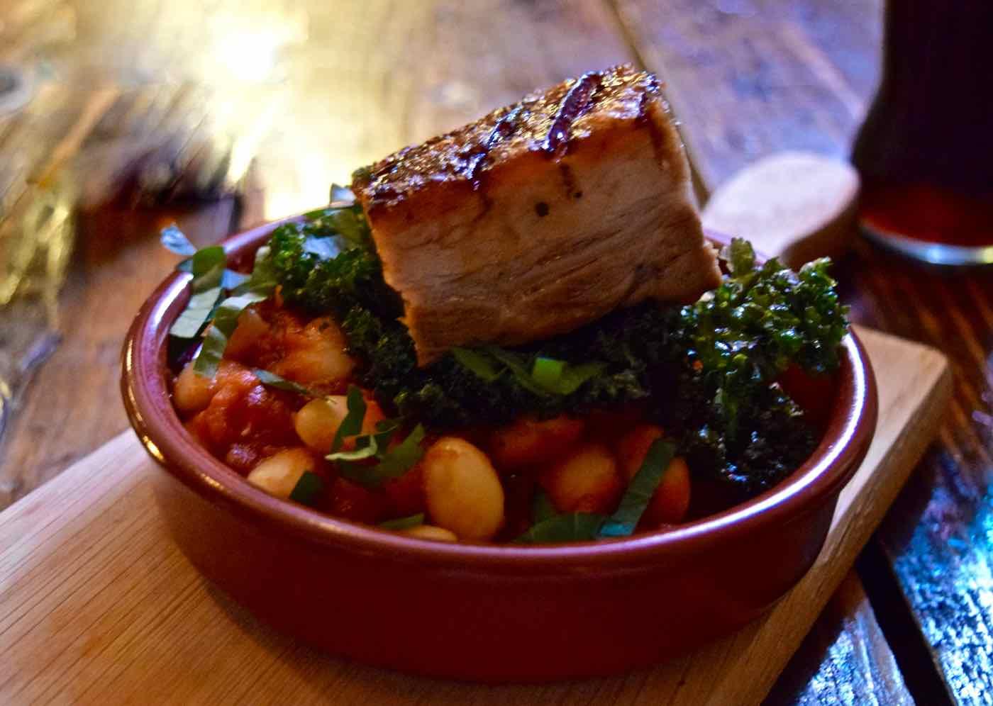 Pork belly and butter bean stew at Junkyard Restaurant, Nottingham