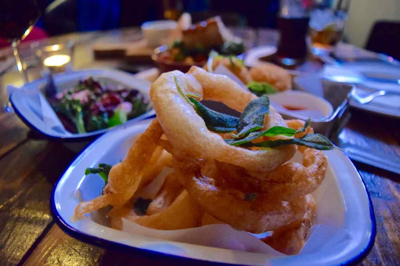 Snakebite onion rings at Junkyard Restaurant, Nottingham