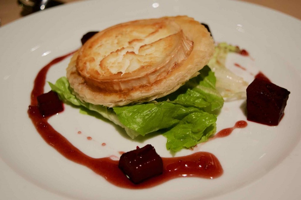 Roasted goats cheese tart at Hotel L'Ecrin Du Val Claret