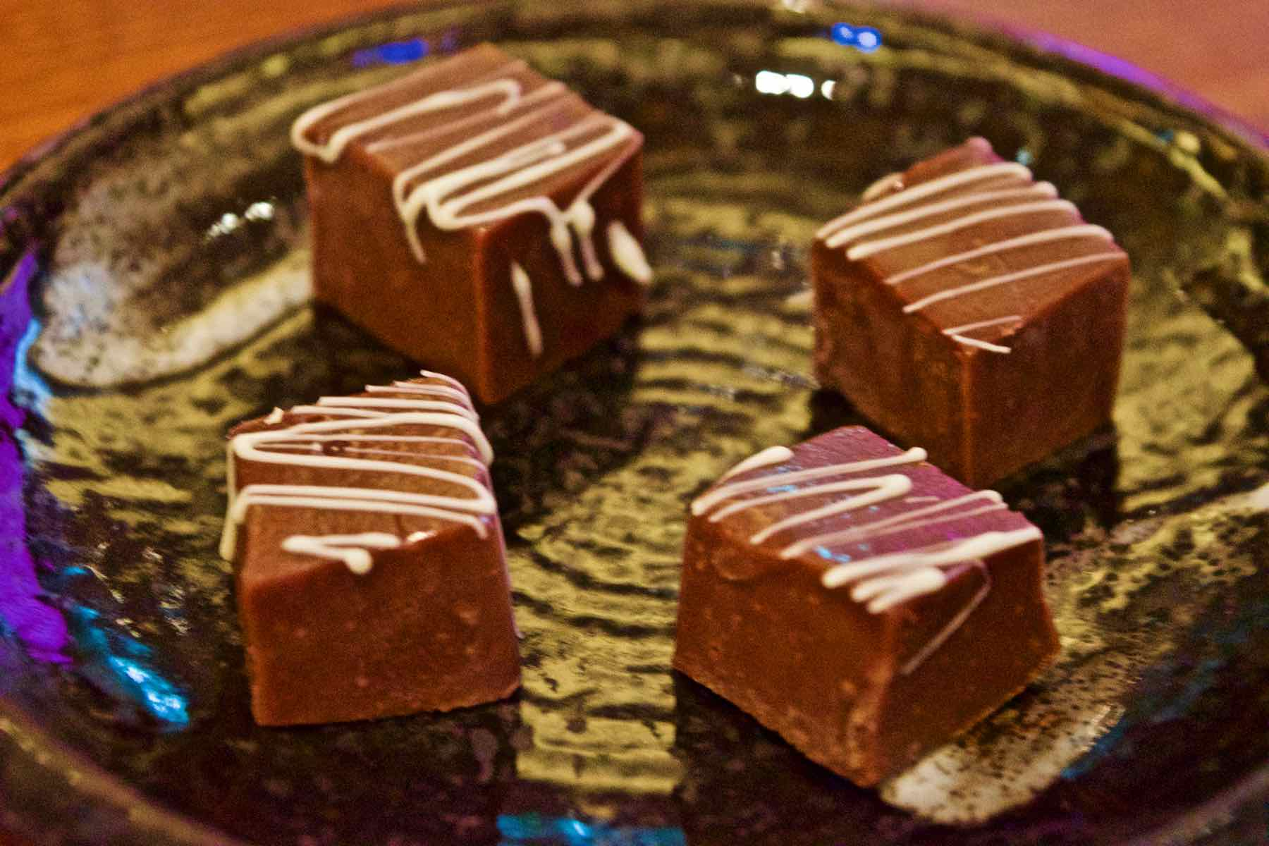Chocolate fudge petit fours at Maze Restaurant, Mayfair
