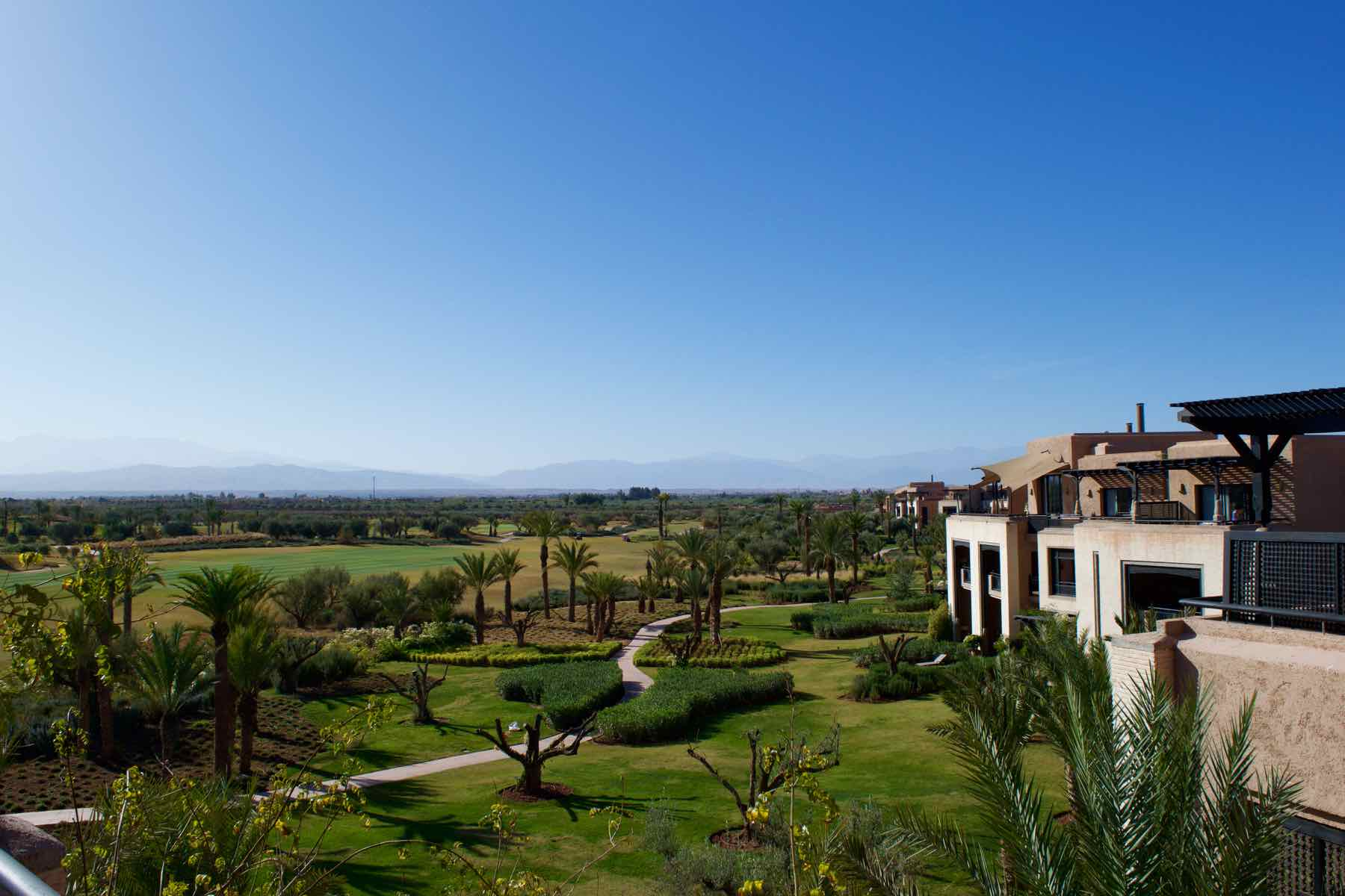 View of the golf course and gardens at Royal Palm Hotel Marrakech