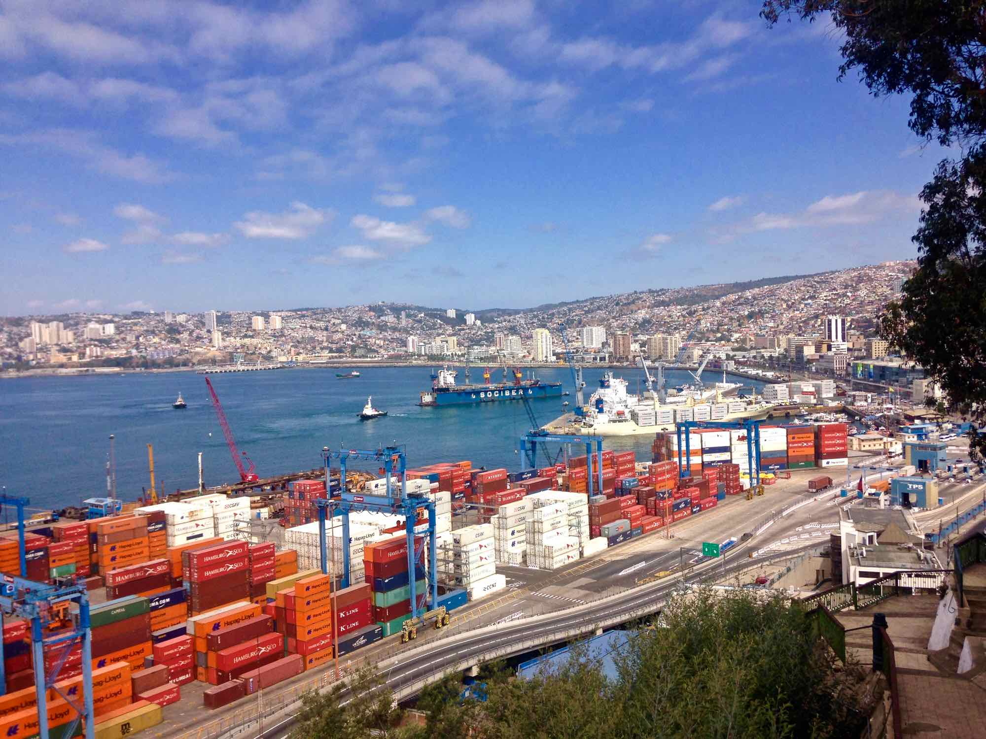 View of the port in Valparaiso Chile