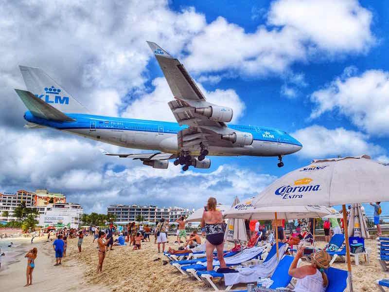 Plane landing over Maho Beach, St Martin