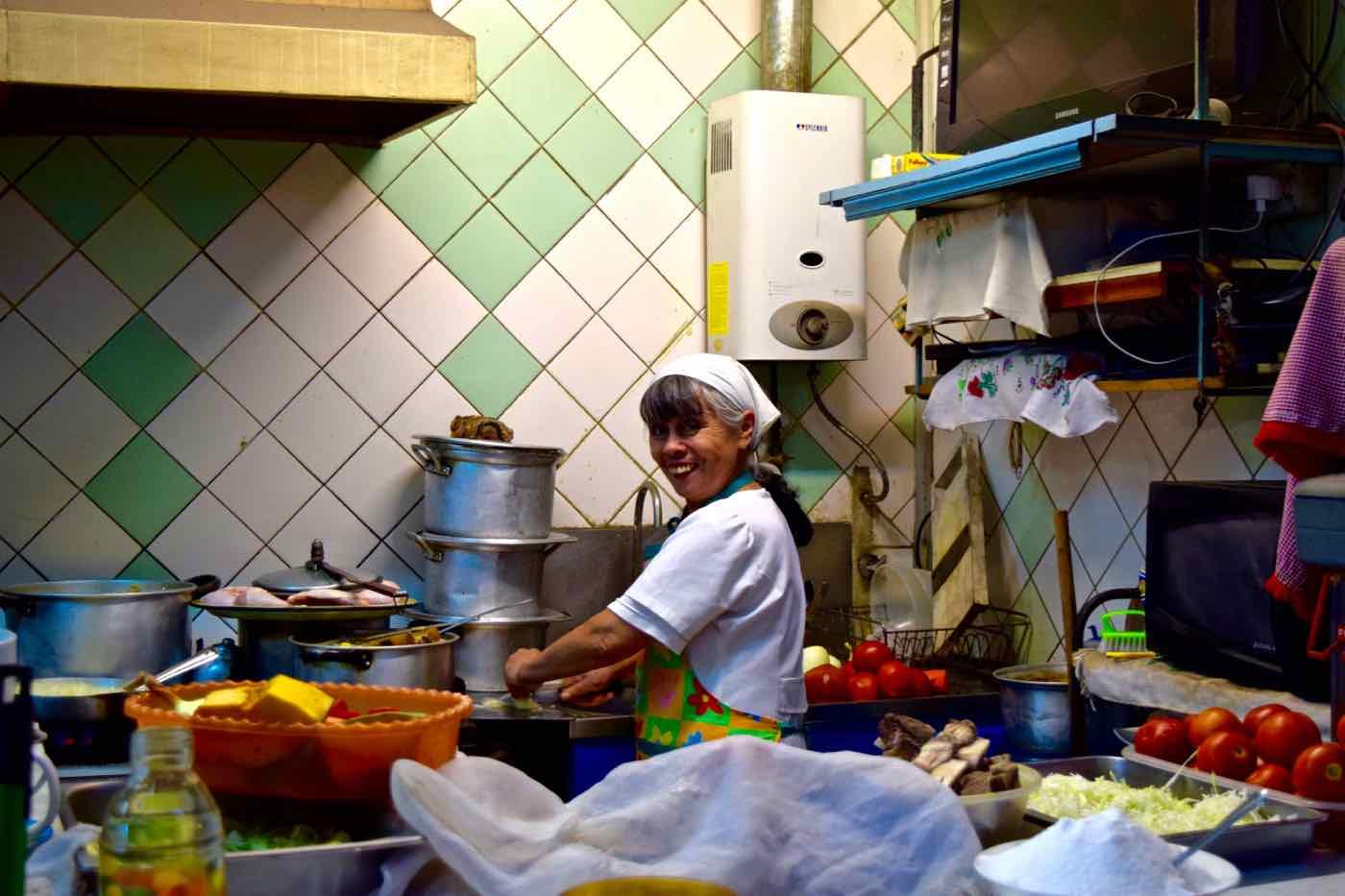 Chefs working in Santiago's Central Markets