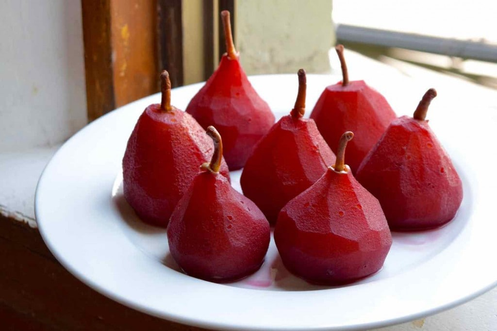 Pears poached in red wine, Uncorked Chile cooking class, Santiago