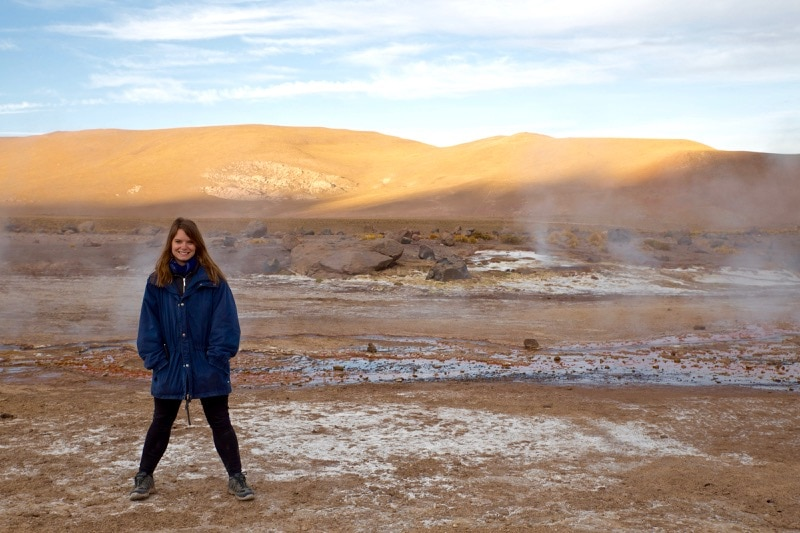Sunrise (wearing as many coats as I could!) at El Tatio Geysers