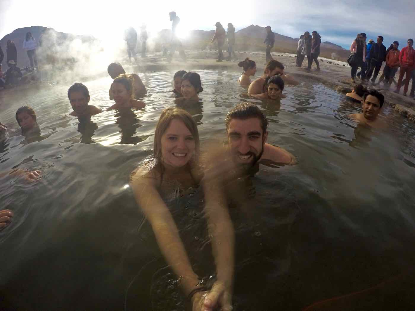 Swimming in the hot springs at El Tatio Geysers
