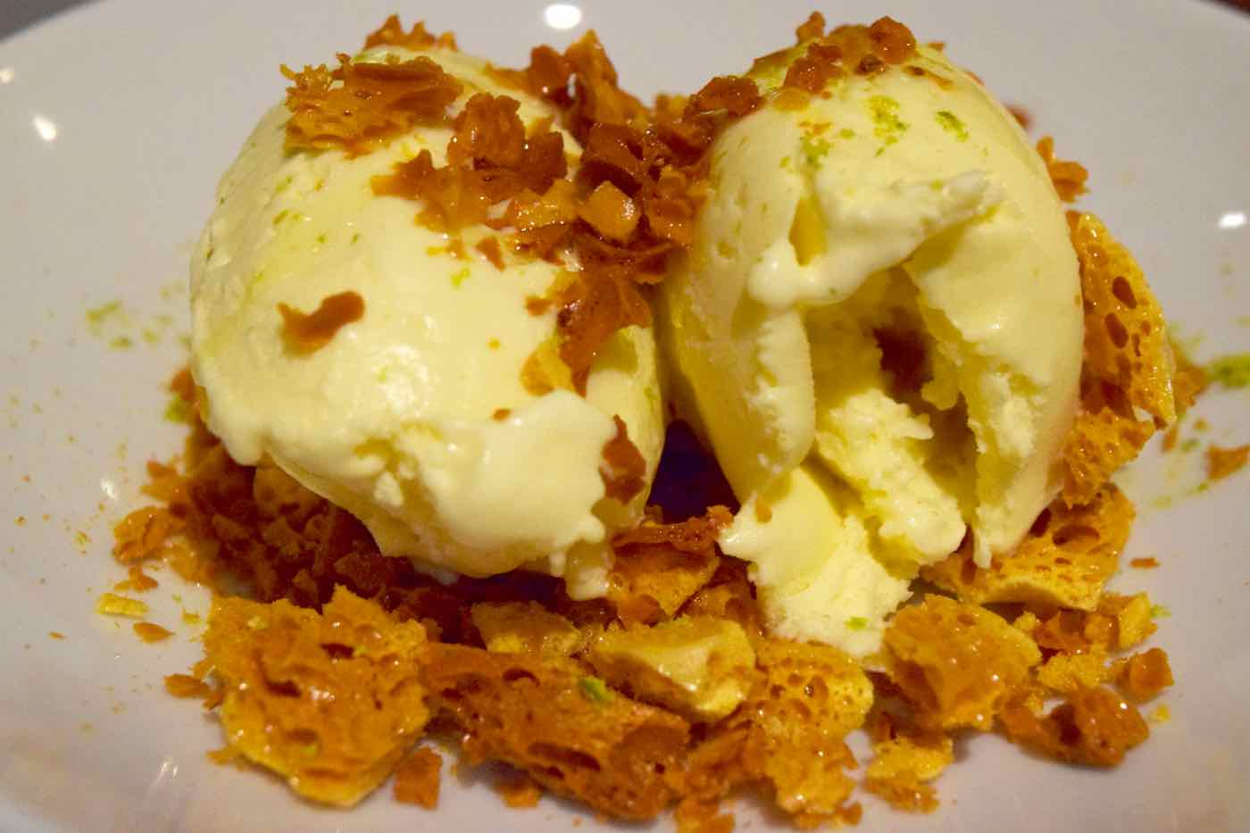 Olive oil and honey ice cream with honeycomb at Osteria London