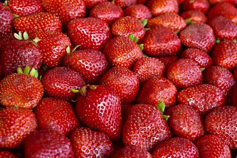 Fresh Strawberries in La Vega Market, Santiago
