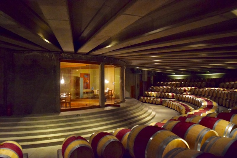Barrel room at Vina Montes, Colchagua Valley, Chile