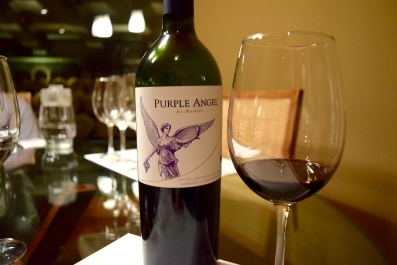 Tasting Purple Angel at Vina Montes, Colchagua Valley, Chile