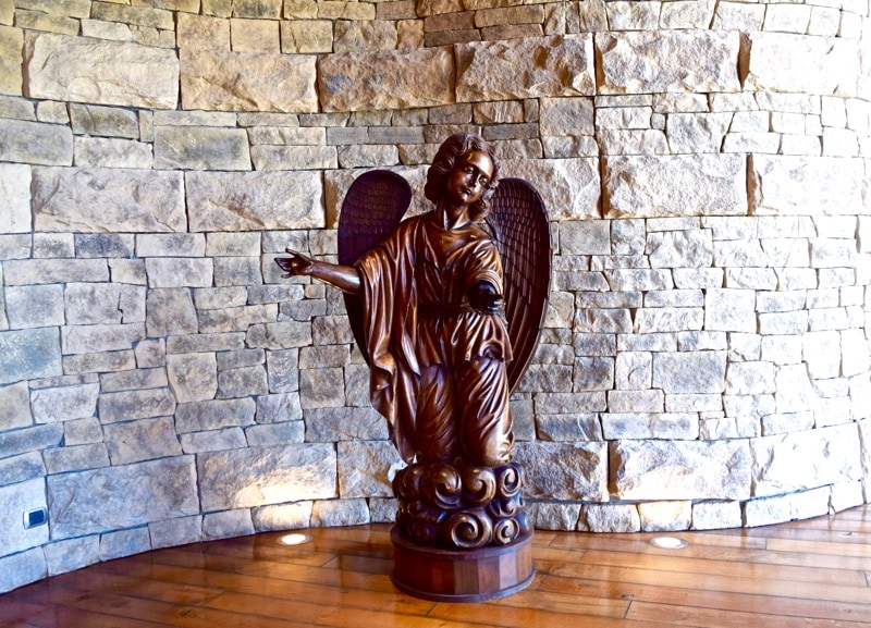 Angel in reception at Vina Montes, Colchagua Valley, Chile