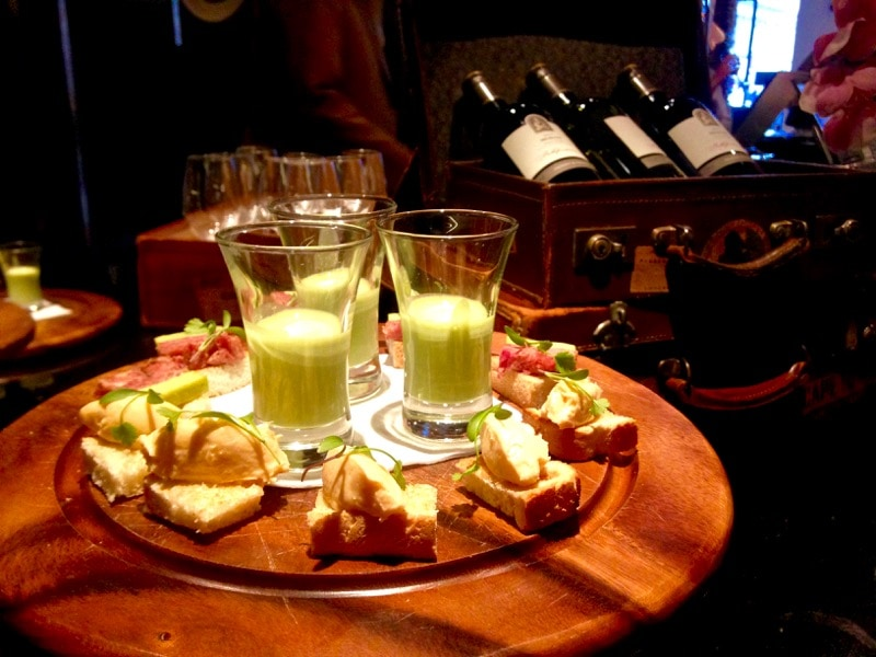 Complimentary wine and canapes at Andaz Hotel Liverpool Street, London