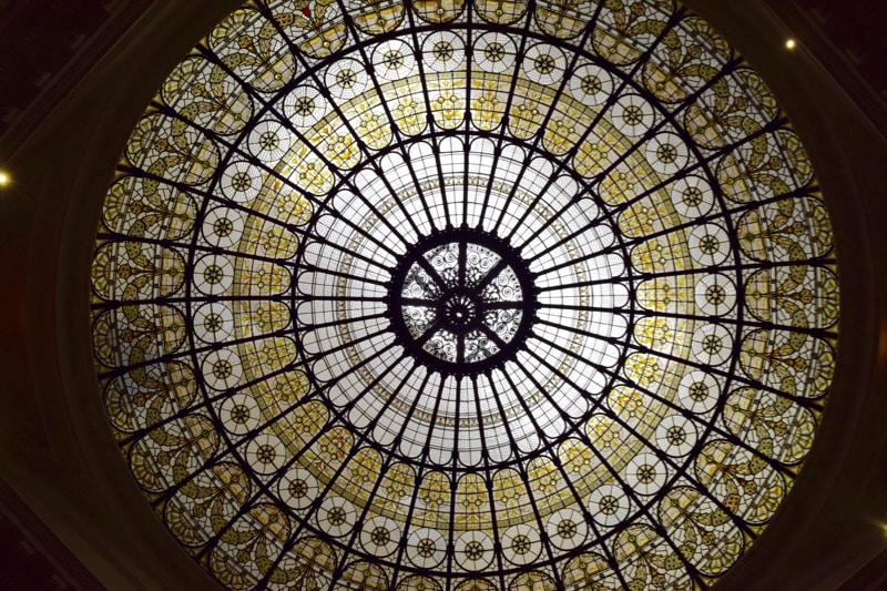 Spectacular dome in the breakfast room at Andaz Hotel Liverpool Street, London