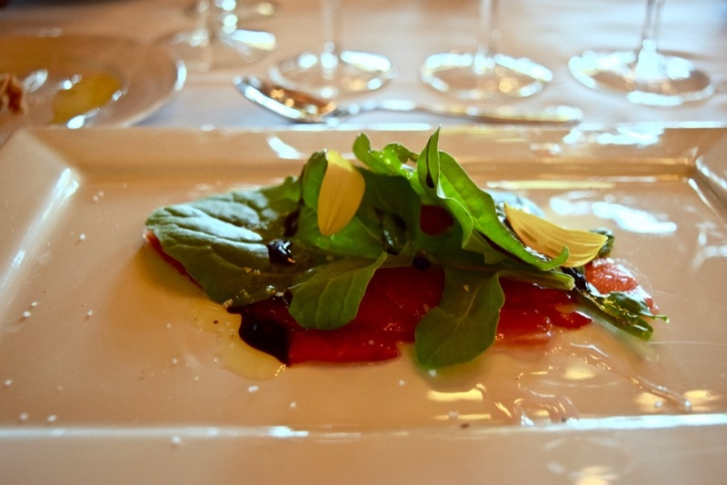 Watermelon carpaccio at Andeluna Restaurant, Uco Valley