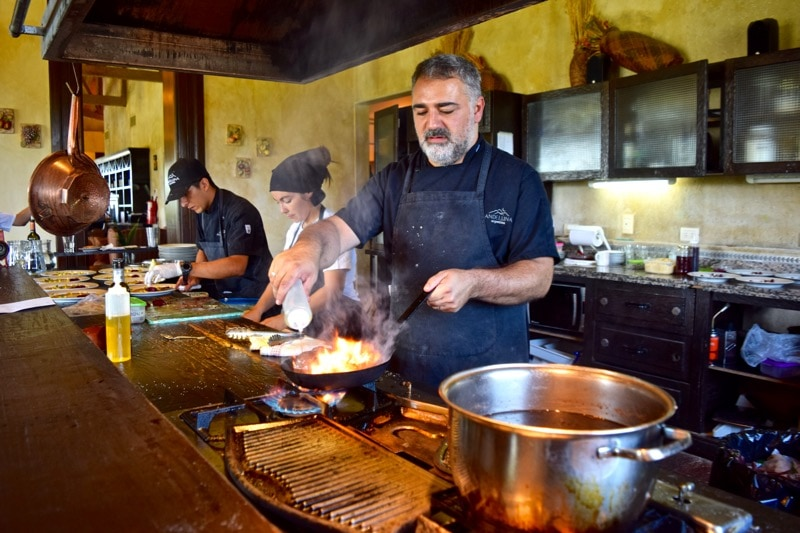 Chefs at work at Andeluna Restaurant, Uco Valley