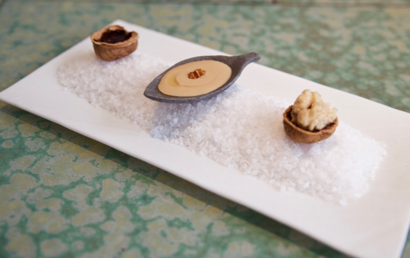 The walnut trio at Disfrutar Restaurant, Barcelona
