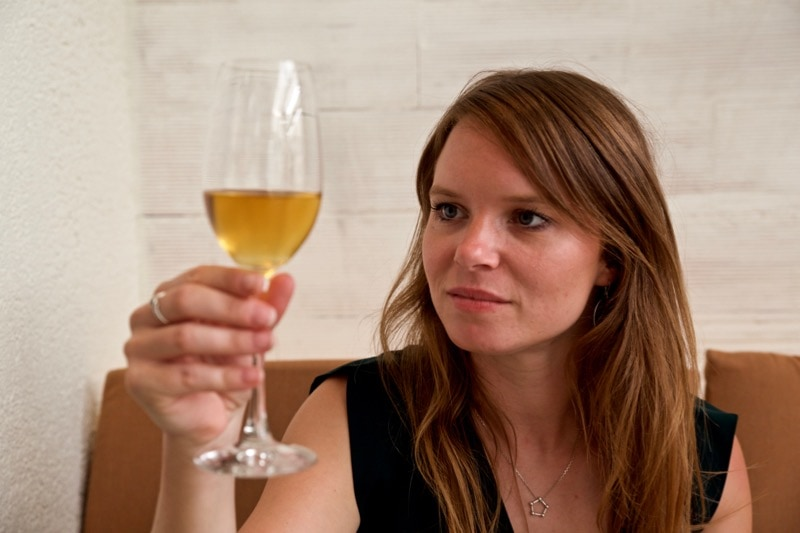Enjoying the wine pairing at Disfrutar Restaurant, Barcelona