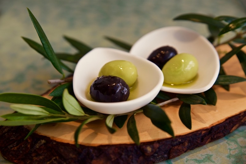 The signature olive dish at Disfrutar Restaurant, Barcelona