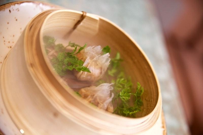 Steamed mushroom dumplings at Disfrutar Restaurant, Barcelona