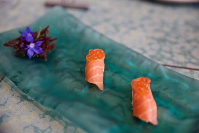 Cauliflower and salmon sushi at Disfrutar Restaurant, Barcelona