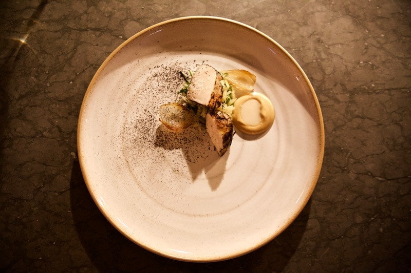 Hay baked scallop at Ekstedt Restaurant, Stockholm