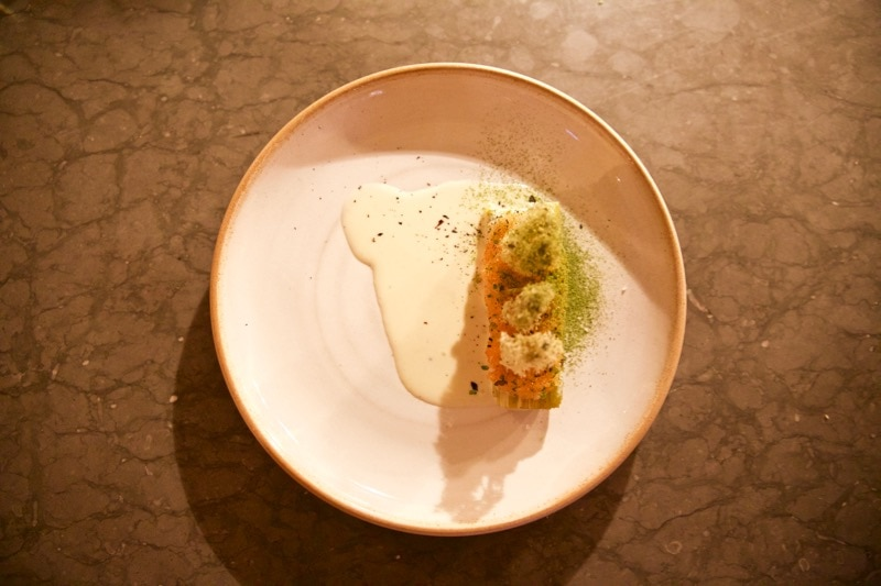 Blackened leek and caviar at Ekstedt Restaurant, Stockholm