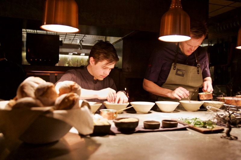 Head chef Rodrigo Perez busy at work at Ekstedt Restaurant, Stockholm
