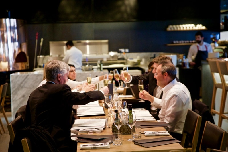 Happy diners at Obicà Restaurant, St Paul's, London
