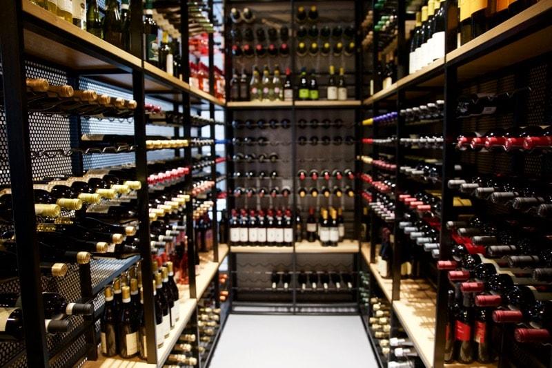 Wine racks at Obicà Restaurant, St Paul's, London