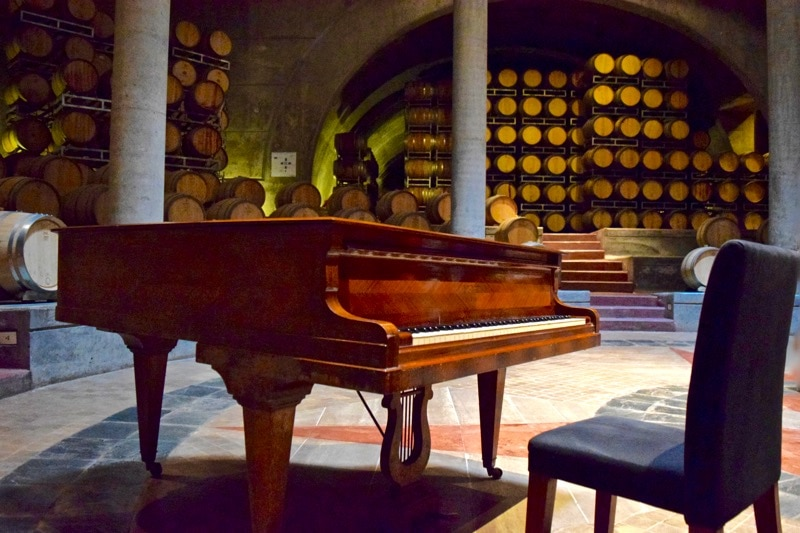 Stunning cellar with grand piano at Salentein Winery, Uco Valley