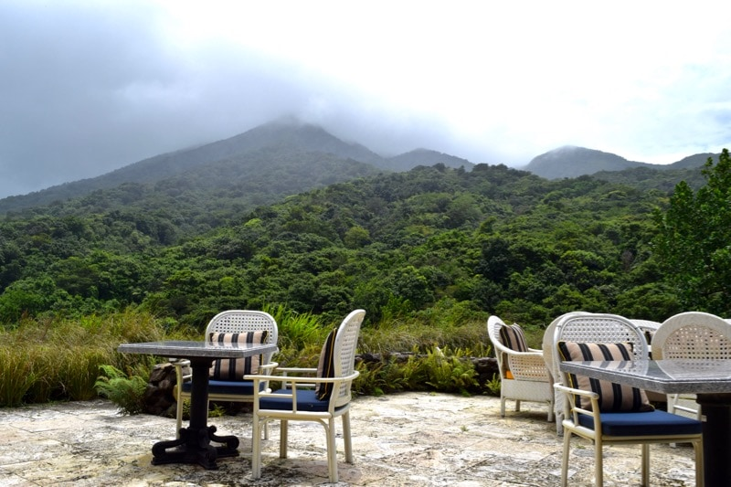 Belle Mont Farm Restaurant looking out at Mount Liamuiga, St Kitts