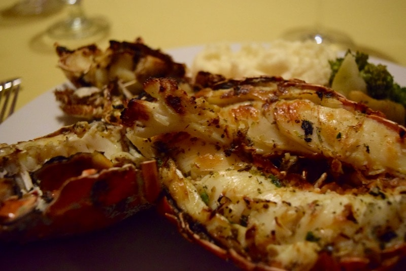 Lobster dinner at St. Kitts Marriott Resort