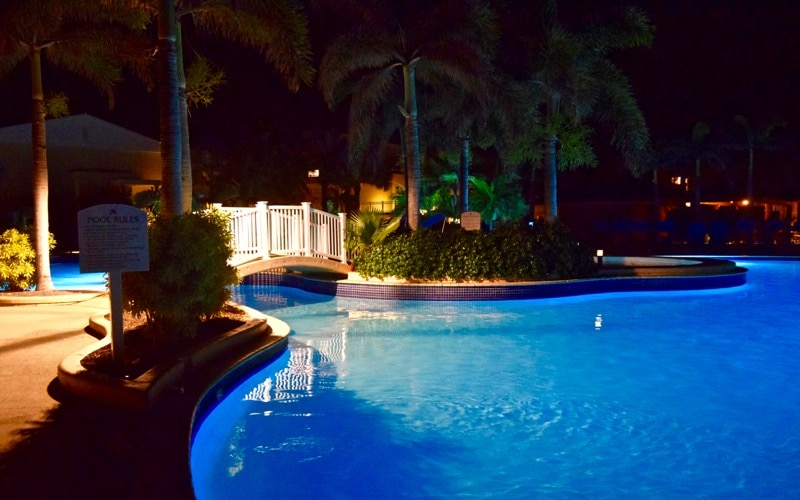 Pool by night at St. Kitts Marriott Resort