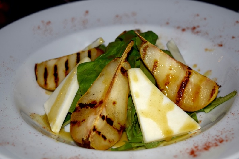 Poached pear and goats cheese salad at Villa Mansa Hotel