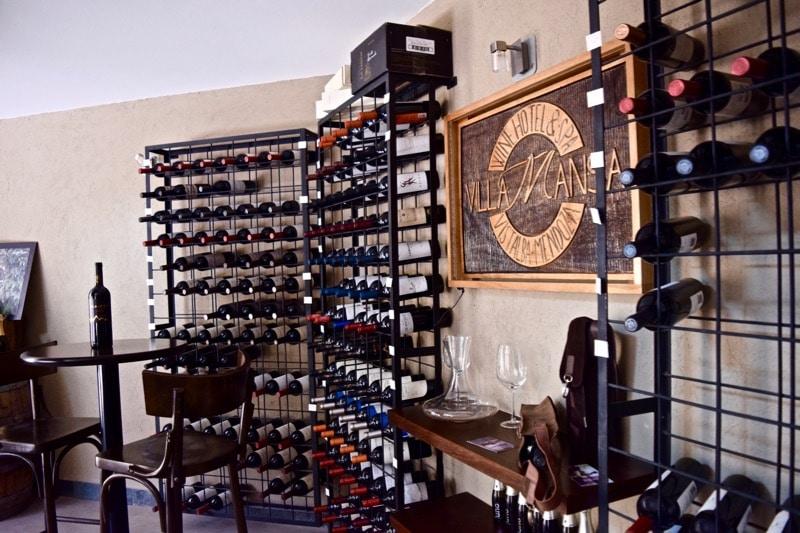 Wine cellar at Villa Mansa Hotel