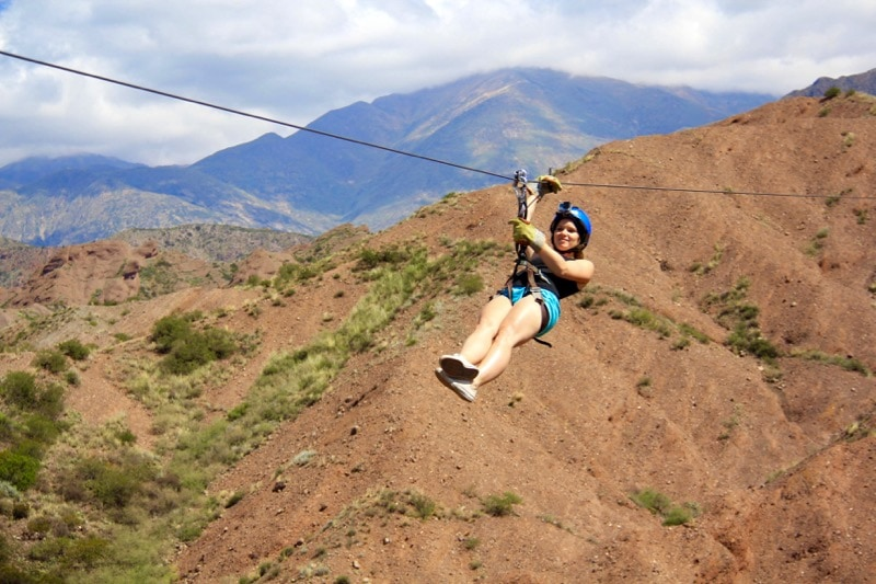 Enjoying ziplining through the Andes in Argentina